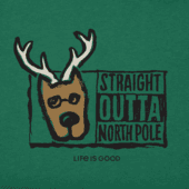 Men's Straight Outta North Pole Long Sleeve Crusher Tee