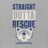 Men's Straight Outta Rescue Cat Long Sleeve Crusher Tee
