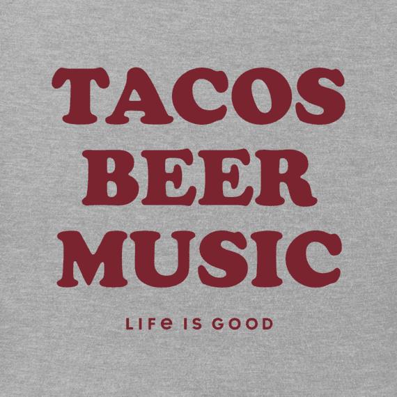 Men's Tacos Beer Music Crusher Tee