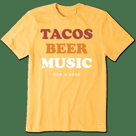 Men's Tacos, Beer, Music Crusher Tee
