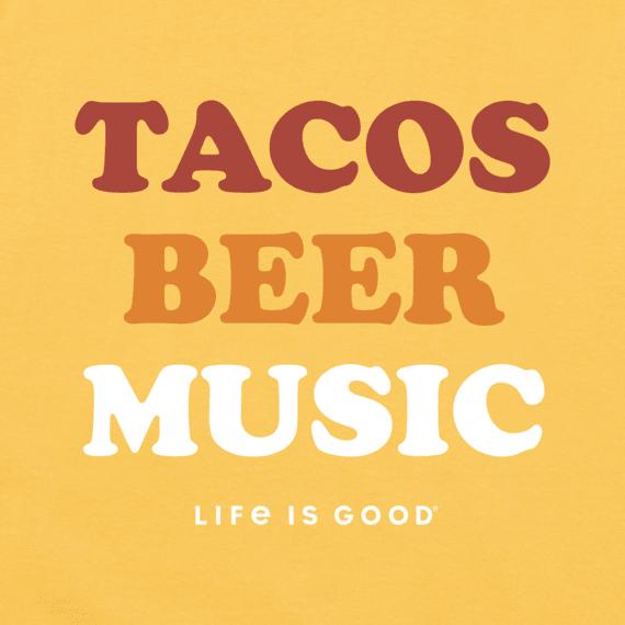 Men's Tacos, Beer, Music Long Sleeve Crusher Tee