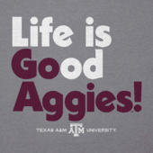 Men's Texas A&M Life is Good Long Sleeve Cool Tee