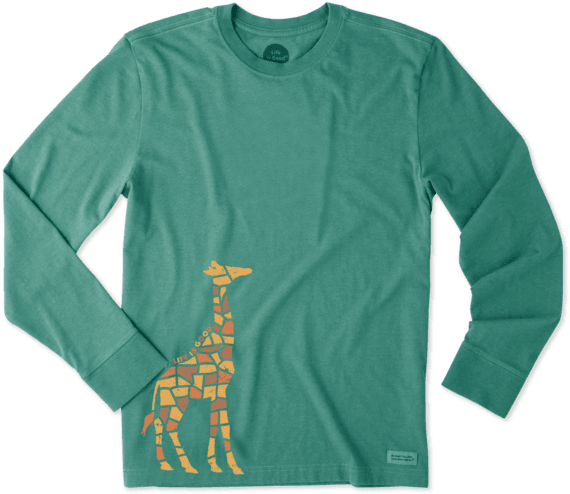 Men's Tile Giraffe Long Sleeve Crusher Tee