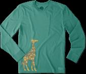 Men's Tile Giraffe Long Sleeve Crusher Tee