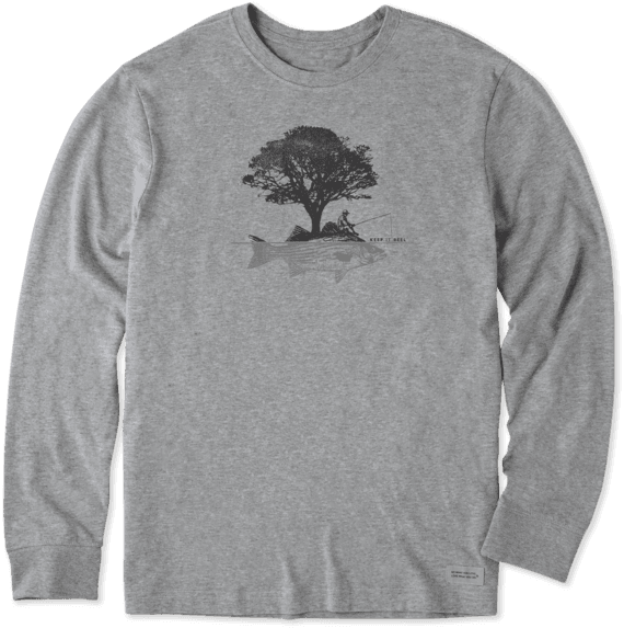 Men's Tree Fish Long Sleeve Crusher Tee