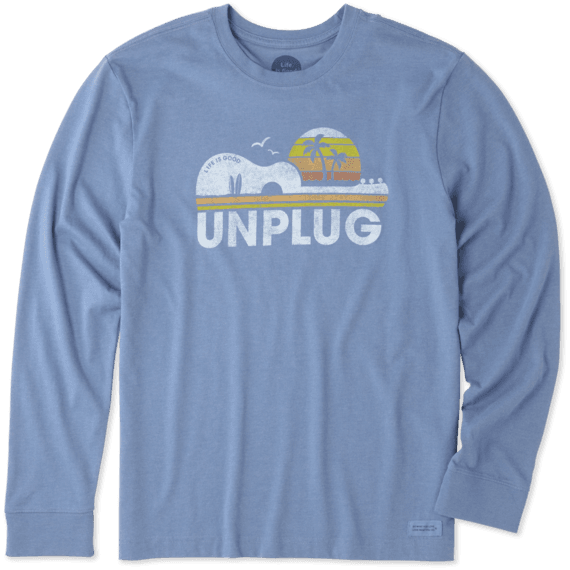 Men's Unplug Beach Guitar Long Sleeve Crusher Tee