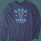 Men's Villanova Wildcats Good Vibes Arc Long Sleeve Cool Tee