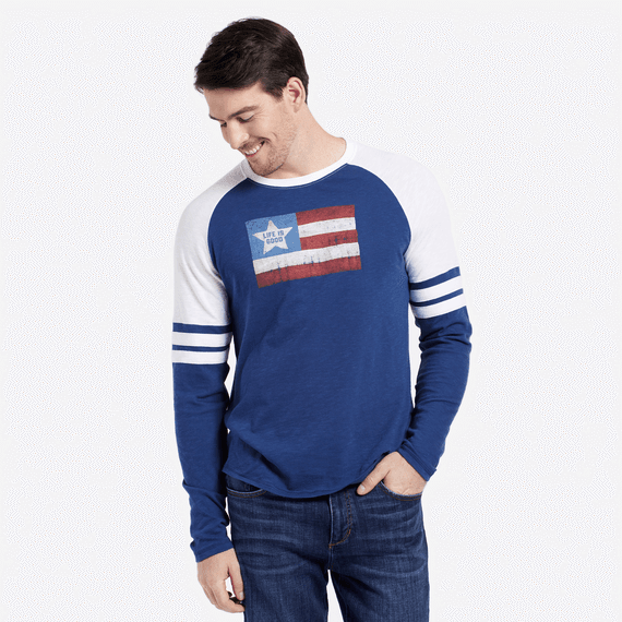 Men's Vintage American Flag Vintage Sport Long Sleeve