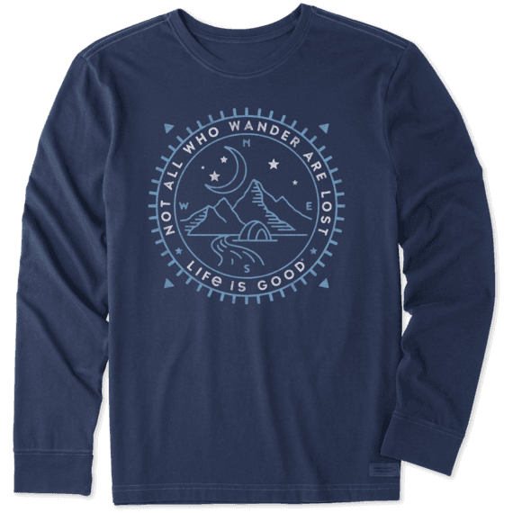 Men S Wander Compass Scene Long Sleeve Crusher Tee Life Is Good Official Site