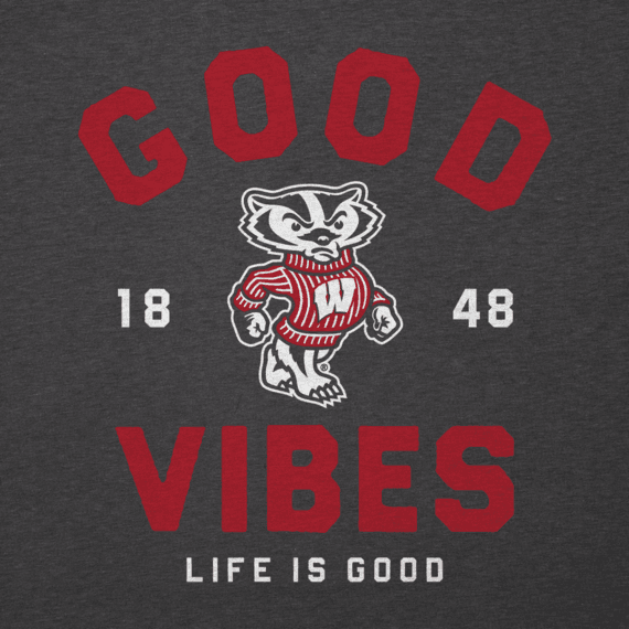 Men's Wisconsin Good Vibes Arc Long Sleeve Cool Tee