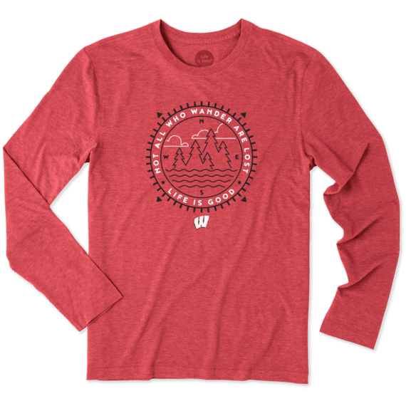 Men's Wisconsin Wander Scene Long Sleeve Cool Tee