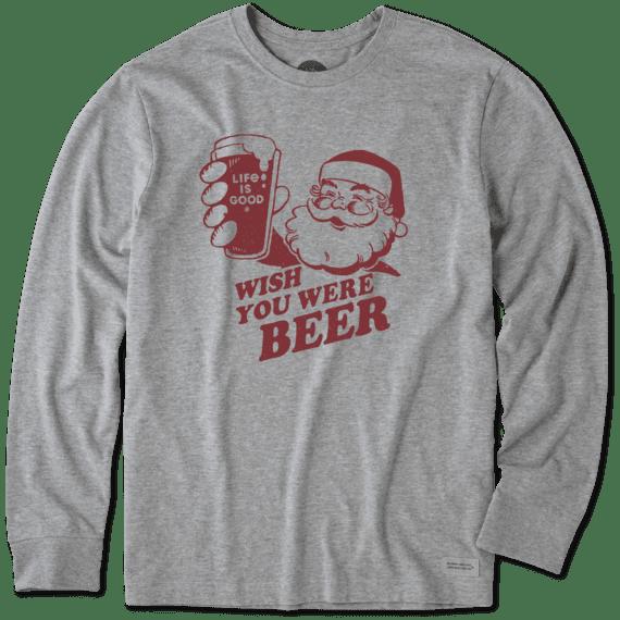 Men's Wish You Were Beer Long Sleeve Crusher Tee