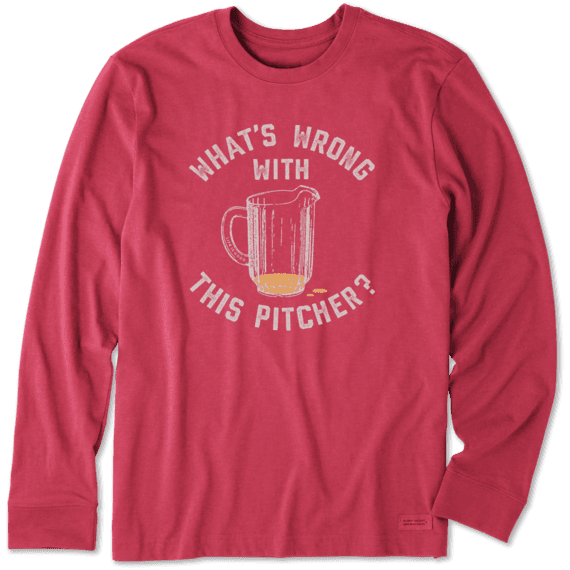 Men's Wrong W This Pitcher Long Sleeve Crusher Tee