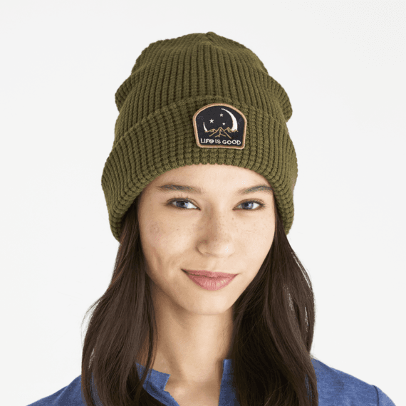 Moon Mountain Patch Waffle Beanie