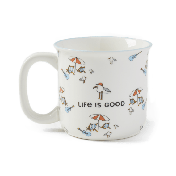 Naive Beach Pattern Happy Camper Mug