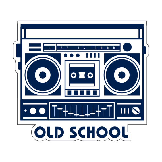 Old School Boombox Small Die Cut Decal