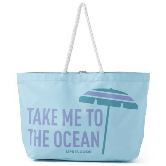 Parasol Take Me To The Ocean Sunny Day Large Beach Bag
