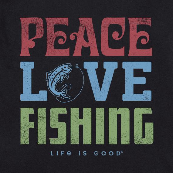 Mens Peace Love Fishing Short Sleeve Tee