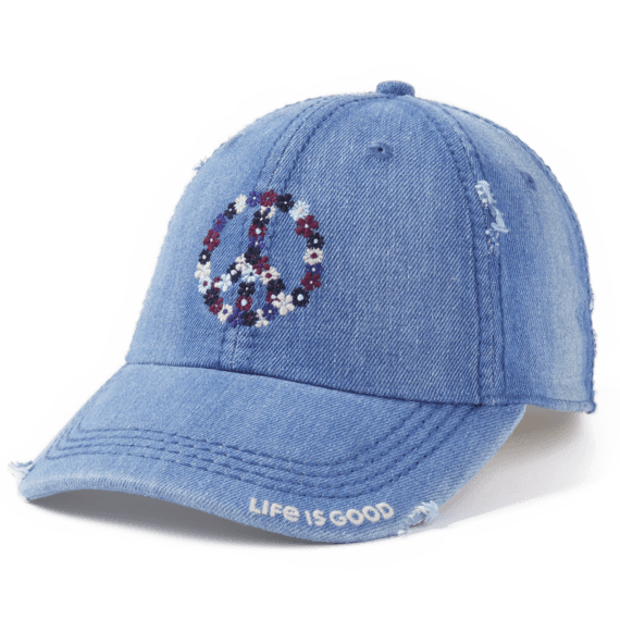 Peace Love and Optimism Sunwashed Chill Cap