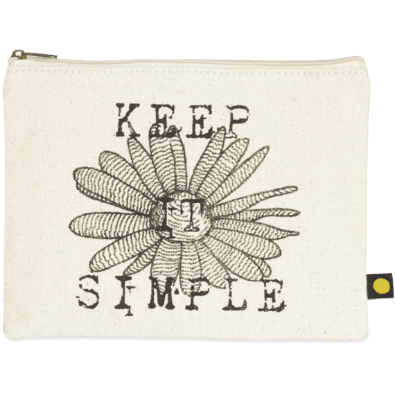 Simple Daisy Canvas Pouch Life is Good