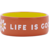 13oz Ceramic Daisy Life is Good Dog  Bowl