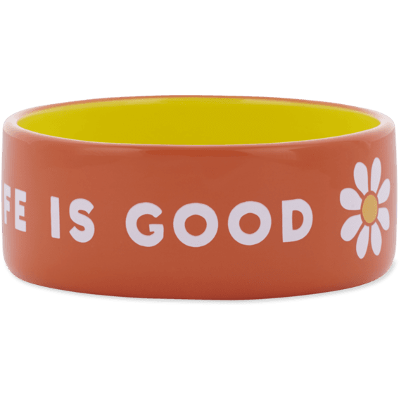 13oz Ceramic Daisy Life is Good Dog  Bowl