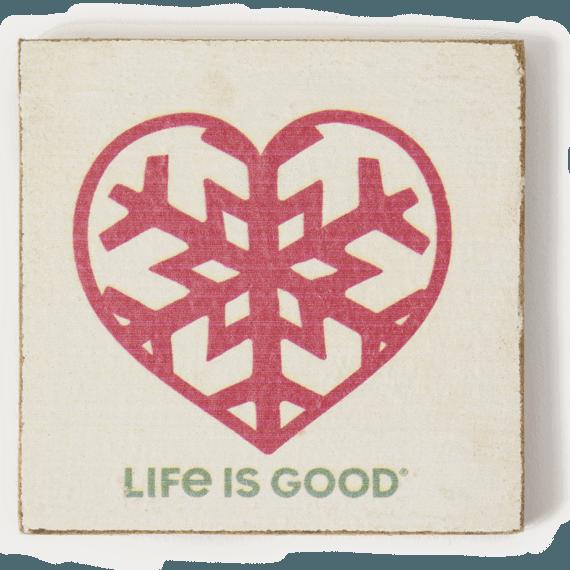 Snowflake Heart Rustic Wooden Coaster