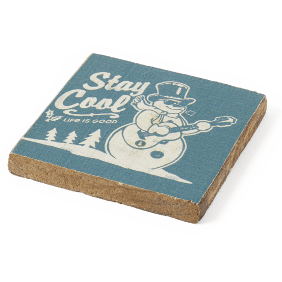 Snowman Stay Cool Rustic Wooden Coaster