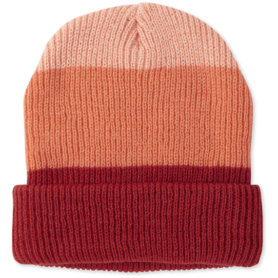 Striped No Pom Beanie