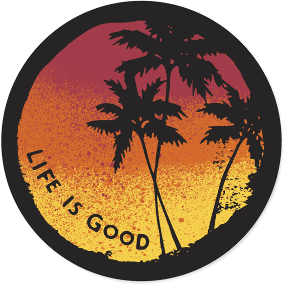 Sunset Palms Circle Sticker