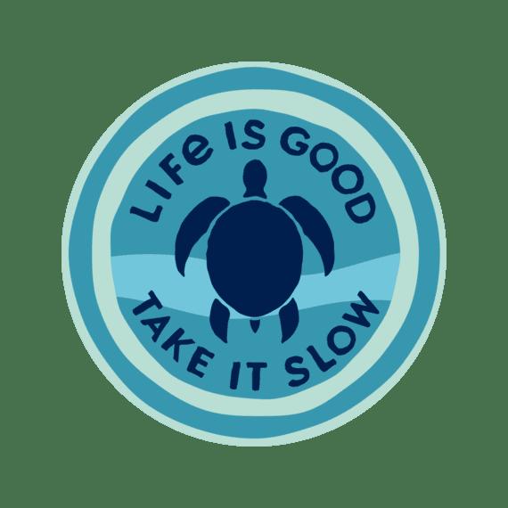 "Take It Slow Turtle 4"" Circle Sticker"