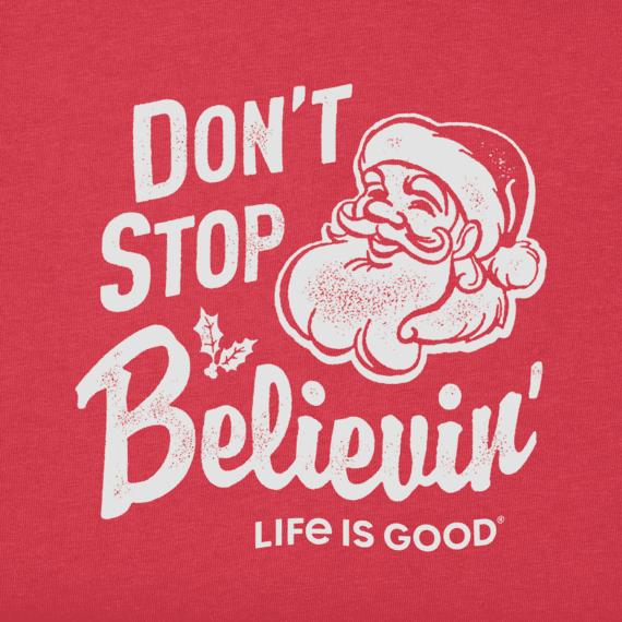 Toddler Don't Stop Believin' Santa Long Sleeve Crusher Tee