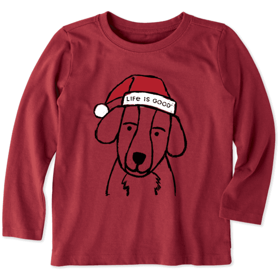 Toddler Holiday Grunge Dog Long Sleeve Crusher Tee