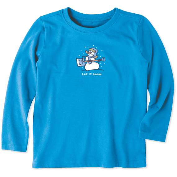 Toddler Let it Snow Long Sleeve Vintage Crusher Tee