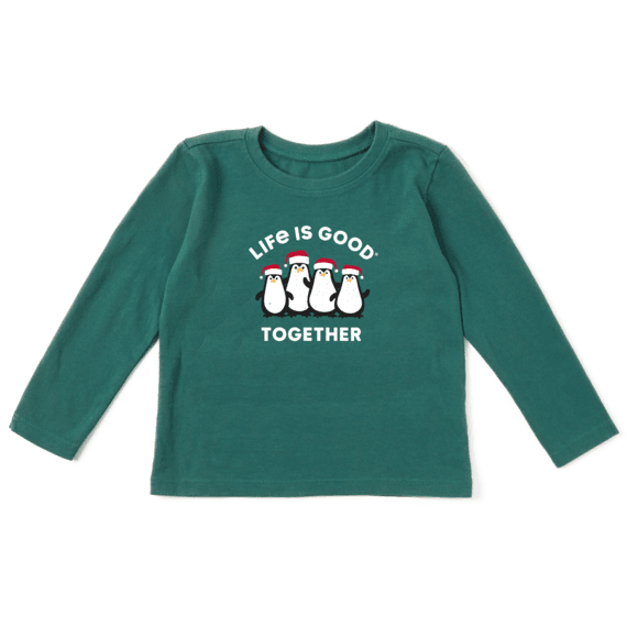 Toddler Life is Good Together Penguins Long Sleeve Crusher Tee