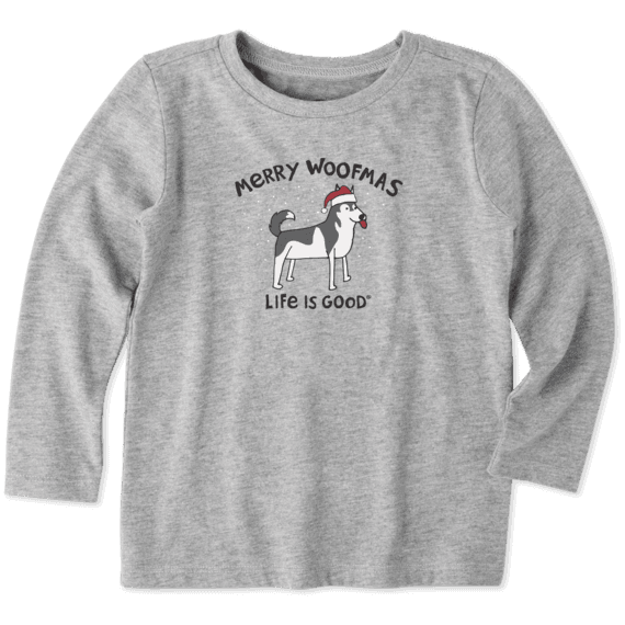 Toddler Merry Woofmas Long Sleeve Crusher Tee