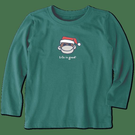 Toddler Monkey Santa Long Sleeve Vintage Crusher Tee