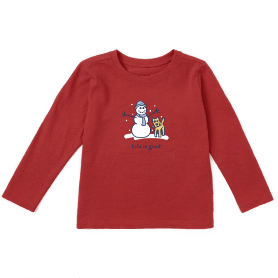 Toddler Snowman and Rocket Long Sleeve Vintage Crusher Tee
