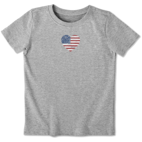 Toddler Watercolor Flag Heart Crusher Tee