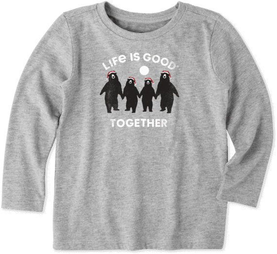 Toddlers Bears Together Toddler Long Sleeve Crusher Tee