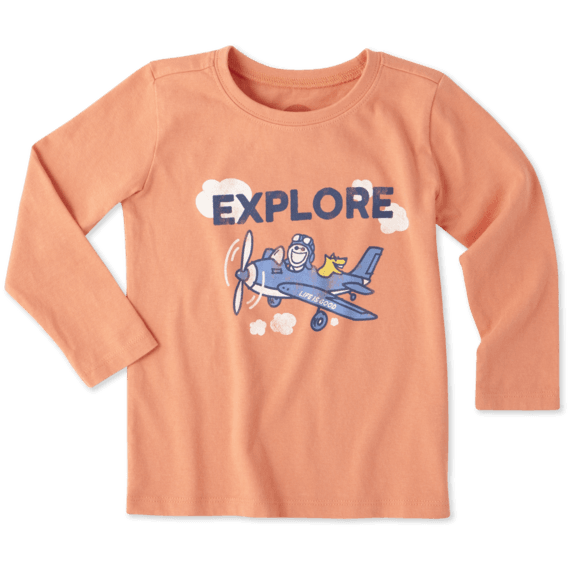 Toddlers Explore Plane Long Sleeve Crusher Tee