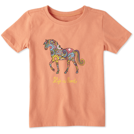 Toddlers Flower Swirl Horse Crusher Tee