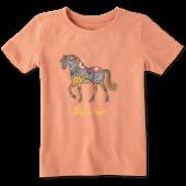 Toddlers Flower Swirl Horse Crusher Tee
