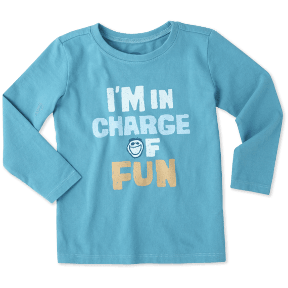 Toddlers I'm In Charge Of Fun Long Sleeve Crusher Tee