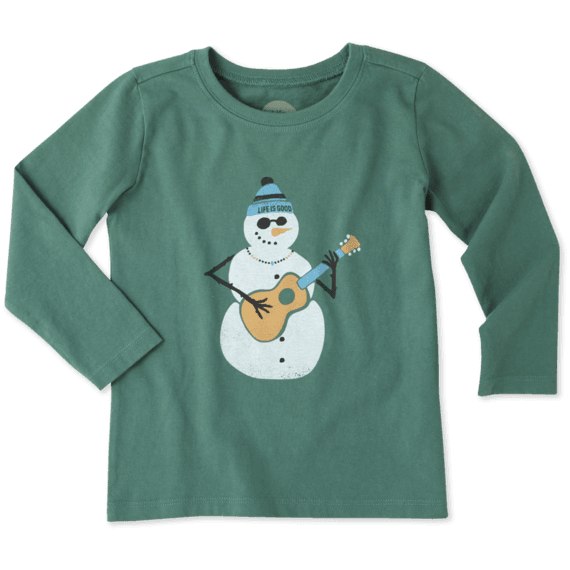 Life Is Good  Guitar Jamming Snowman Toddler Tee shirt 4T long sleeve Christmas