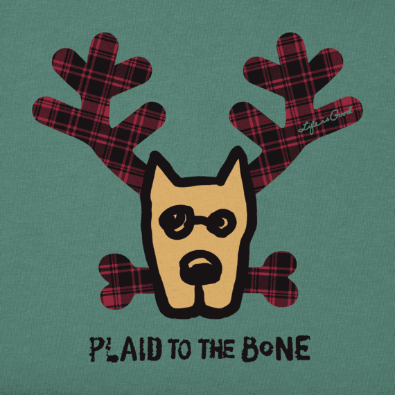 Toddlers Plaid To The Bone Long Sleeve Crusher Tee