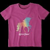 Toddlers Rainbow Unicorn Crusher Tee Crew