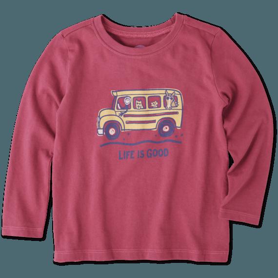 Toddlers School Bus Friends Long Sleeve Crusher Tee