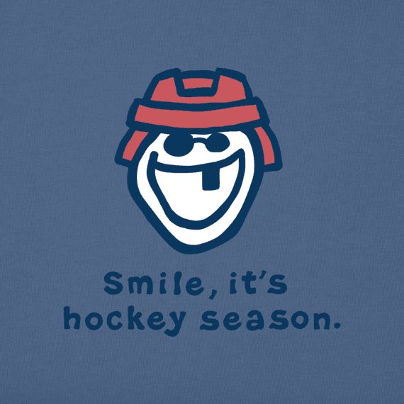 Toddler Smile Its Hockey Season Toddler Long Sleeve Vintage Crusher Tee