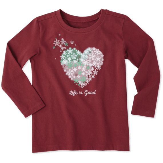 c8f18cd0e79 Toddlers Snowflake Heart Long Sleeve Crusher Tee